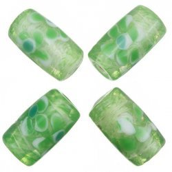 Fused Flower Trans. Green Tube Glass Beads 20x10mm PK4