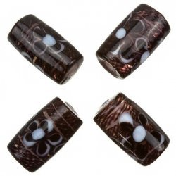 Fused Flower Trans. Drk Brown Tube Glass Beads 20mm PK4