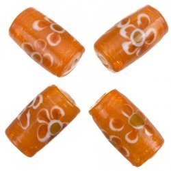 Fused Flower Trans. Orange Tube Glass Beads 20x10mm PK4