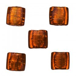 Silver Lined Orange Flat Square Glass Beads 12-14mm PK5