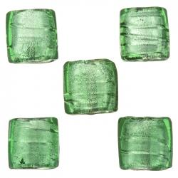 14mm Silver Lined Dark Green Flat Square Glass Bead PK5