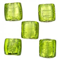 14mm Silver Lined Green Flat Square Glass Bead (PK5)