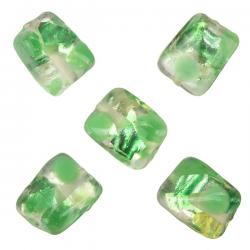 Silver Foil Twisted Green Rectangle Glass Beads 14mm PK5
