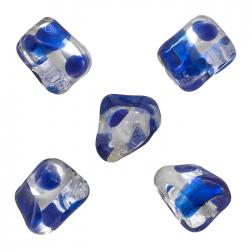Dark Blue 16mm Indian Glass Twisted Rectangle Beads PK5