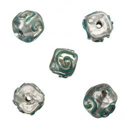 Transparent Spiral Teal Cube Glass Beads 10mm (PK5)