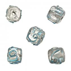 Clear Spiral Turquoise Cube Glass Beads 10mm (PK5)