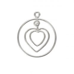 Round Wire Heart Pendant 925 Sterling Silver 20mm (PK1)