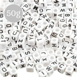 Mixed Alphabet White Cube Acrylic Letter Beads 6mm 50g