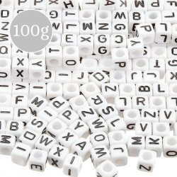 6mm Acrylic Mix Alphabet Letter Cube Beads Silver 100g K33//2