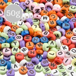 Mixed Colour Alphabet Round Acrylic Letter Beads 7mm 50g