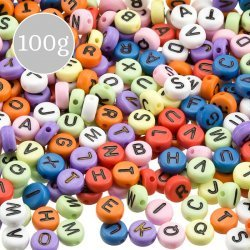 Mixed Colour Alphabet Round Acrylic Letter Beads 100g