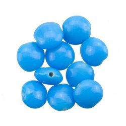 Blue Opaque Smartie Disc Shape Glass Beads 12x6mm PK10