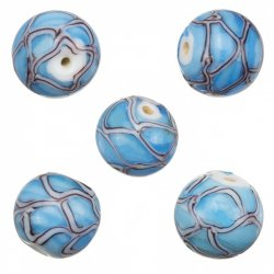Wavy Patterned Light Blue Round Glass Beads 15mm (PK5)
