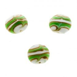 Flat Green, White and Gold Round Glass Beads 18mm (PK3)