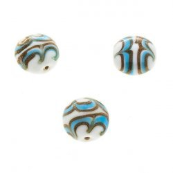 Flat Turquoise, White & Gold Round Glass Beads 18mm PK3