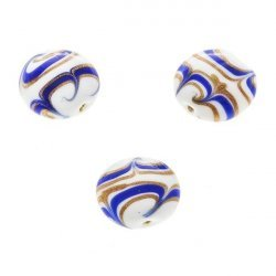 Flat Blue, White and Gold Round Glass Beads 18mm (PK3)