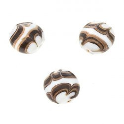 Flat Black, White and Gold Round Glass Beads 18mm (PK3)