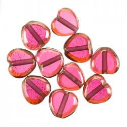 Lustred Heart Pink Glass Charm Pendants 12mm PK10