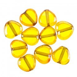 Lustred Heart Yellow Glass Charm Pendants 12mm PK10