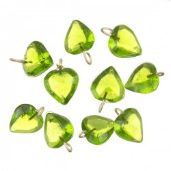 Transparent Heart Lime Glass Charm Pendants 12mm PK10