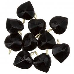 Opaque Heart Black Glass Charm Pendants 15mm PK10