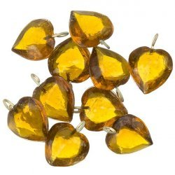 Transparent Heart Amber Glass Charm Pendants 15mm PK10