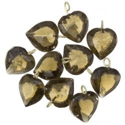 Transparent Grey Glass Heart Charm Pendants 15mm PK10