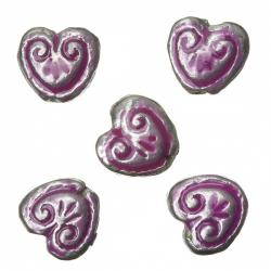 Enamelled Heart Pink Pattern Metal Beads 15mm (PK5)