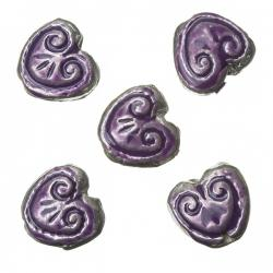 Enamelled Heart Purple Pattern Metal Beads 15mm (PK5)