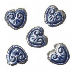 Enamelled Heart Blue Pattern Metal Beads 15mm (PK5)