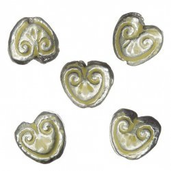 Enamelled Heart Yellow Pattern Metal Beads 15mm (PK5)