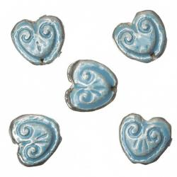 Enamelled Heart Turquoise Pattern Metal Beads 15mm PK5