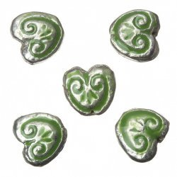 Enamelled Heart Green Pattern Metal Beads 15mm (PK5)