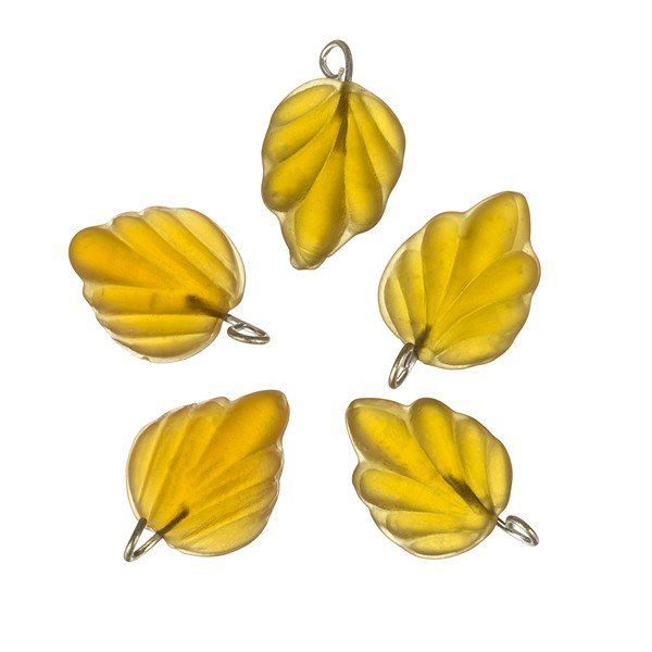 Amber Frosted Glass Leaf Charm Pendants Wired 15mm PK5