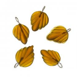 Brown Frosted Glass Leaf Charm Pendants Wired 15mm PK5