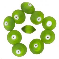 Donut Shape Matte Frosted Green Glass Beads 16mm PK10