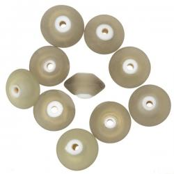 Donut Shape Matt Frosted Grey Glass Beads 16mm PK10