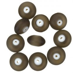 Donut Shape Matt Frosted Dark Grey Glass Beads 16mm PK10