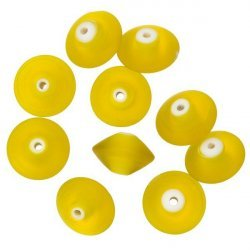 Donut Shape Matt Frosted Yellow Glass Beads 16mm PK10