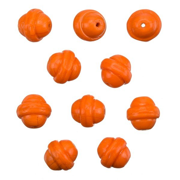 Fancy Saturn Orange Round Glass Beads 10mm (PK10)