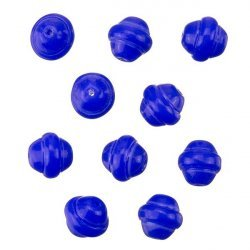 Fancy Saturn Royal Blue Round Glass Beads 10mm (PK10)