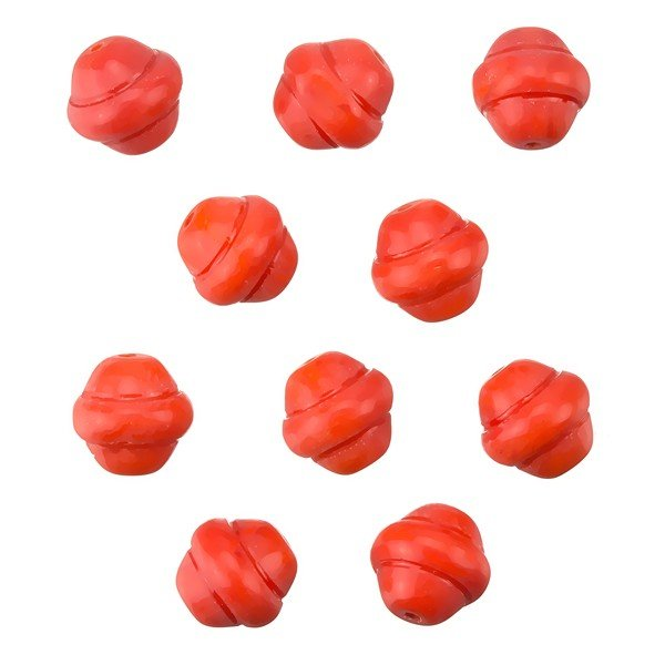 Fancy Saturn Red Round Glass Beads 10mm (PK10)