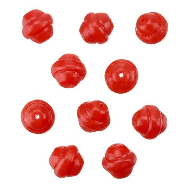 Fancy Saturn Bright Red Round Glass Beads 10mm (PK10)
