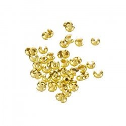 Gold Plated Round Crimp Bead Covers 3mm Findings (PK50)