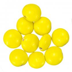 Yellow Shiny Opaque Disc Shape Smartie Glass Beads 12mm