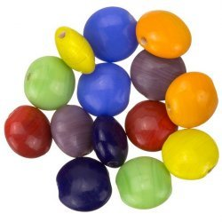 Rainbow Mix Shiny Opaque Disc Smartie Glass Beads 12mm