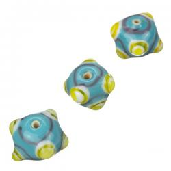Sputnik Lampwork Turquoise/Yellow Round Glass Beads 16mm