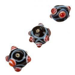 Sputnik Lampwork Black & Red Round Glass Beads 16mm PK3