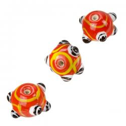 Sputnik Lampwork Red And Black Round Glass Beads 16mm