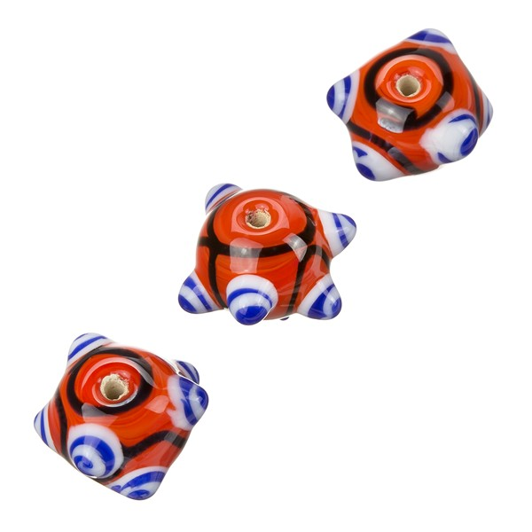 Sputnik Lampwork Red And Blue Round Glass Beads 16mm PK3